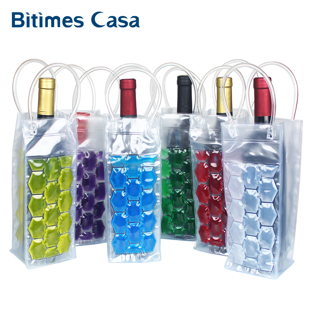 Schnelle Eis Wein Kühler PVC Bier Kühltasche Im Freien Eis Gel Tasche Picknick CoolSacks Wein Kühler Kältemaschinen Gefrorene Tasche Flasche kühler