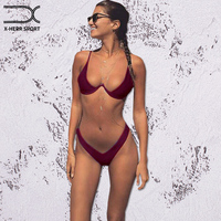 X HERR Newest Bikinis Women Swimsuit With Underwire Half Cup Swimwear Maio Bikini Push Up High