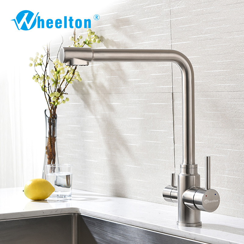 Freeship Wheelton Kitchen Faucet Stainless Steel Flexible Wire Brushed 360 Swivel 3 Way With Filtered Water