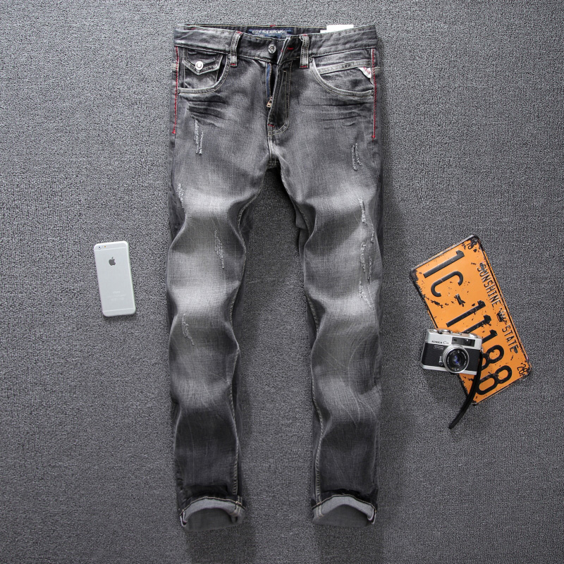 Italian Style Fashion Mens Jeans High Quality Black Gray Slim Fit Ripped Jeans For Men Pants Brand Classic Denim Biker Jeans Men classic mid stripe men s buttons jeans ripped slim fit denim pants male high quality vintage brand clothing moto jeans men rl617