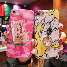 Phone Case For iPhone X XR XS MAX 7 8 6 6S Plus TPU Flower Print Back Cover Coque Cases Soft Silicone Diamond Finger Ring Holder flower printed shell finger ring stand phone case for iphone x xr xs max soft tpu cover for iphone 7 8 plus 6 6s gli case coque