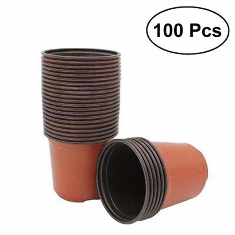 Preto 100 pces jardim planta crescer semeadura pote dupla cor plástico flor berçário potes marrom