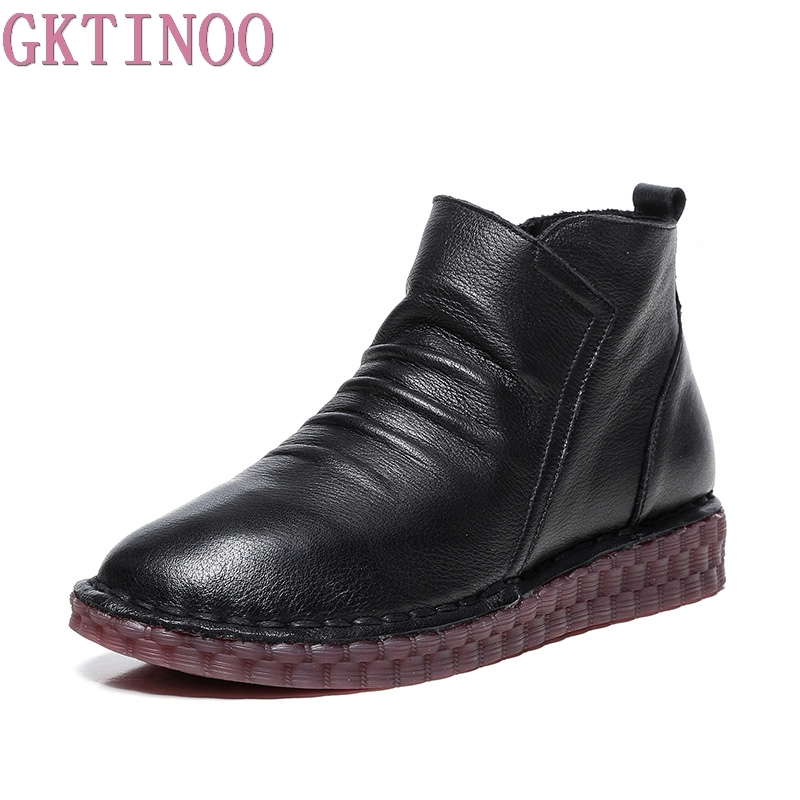 все цены на GKTINOO Fashion Handmade Shoes For Women 100% Genuine Leather Ankle Boots Vintage Flat Women Shoes Round Toe Martin Boots онлайн