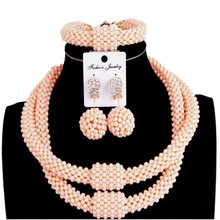 hot deal buy fine jewelry sets party light orange 2 layers fashion jewellery statement necklace women crystal african beads jewelry sets 2018
