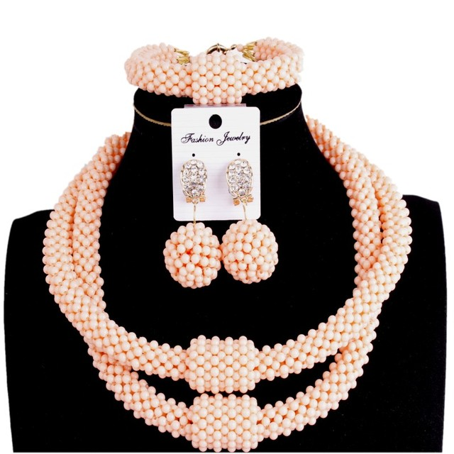 Fine Jewelry Sets Party Light Orange 2 Layers Fashion Jewellery Statement Necklace Women Crystal African beads Jewelry Sets 2018