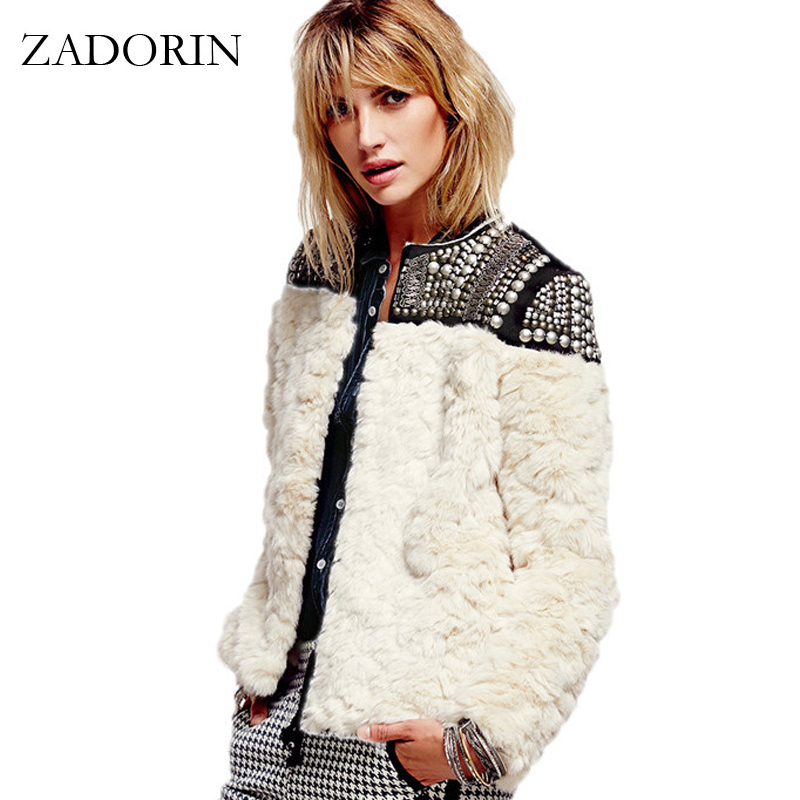 2018 Mode Femmes Punk Style Perles Paillettes Faux Fourrure Vestes et Manteaux Patchwork Faux Lapin Manteau De Fourrure manteau fourrure femme
