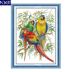 NKF Scarlet Macaw Pattern DIY Handmade Craft Needlework Cross Stitch Set Embroidery Kit Printed Design Stitching Home Decoration