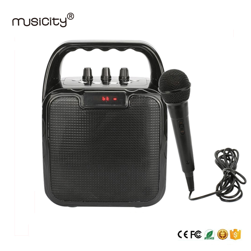 Musicity Party Portable Karaoke Bluetooth Speaker with Microphone Voice Amplifier Bass Music FM Radio USB SD 10W Outdoor Indoor