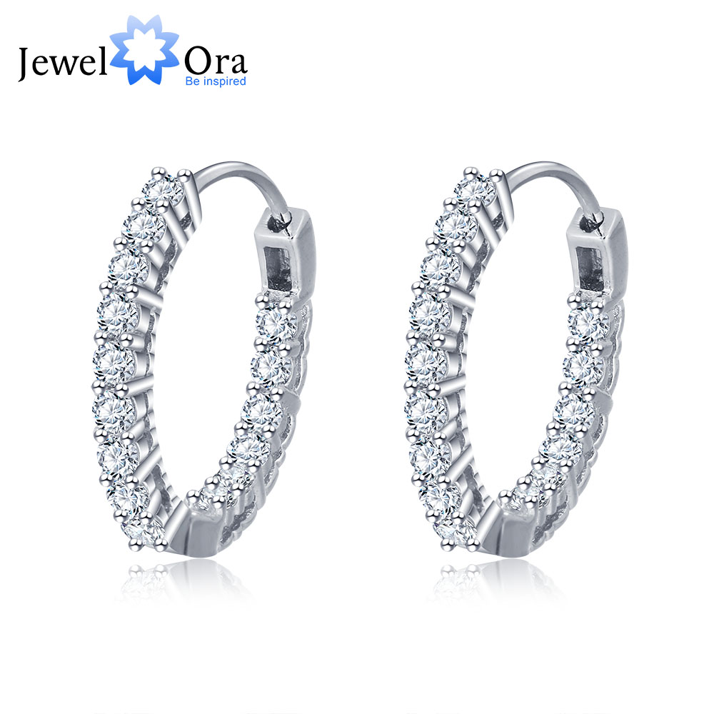 Trendiga 925 Sterling Silver Hoop Örhängen För Kvinnor Cubic Zirconia Stone New Fashion Smycken Gift For Girl (JewelOra EA101739)