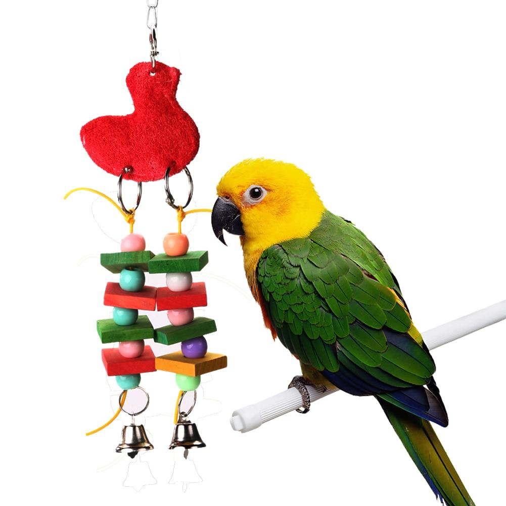 Птицы Попугай Птица укус игрушки Красочные Жевательная игрушки Качели Попугай клетке coc ...