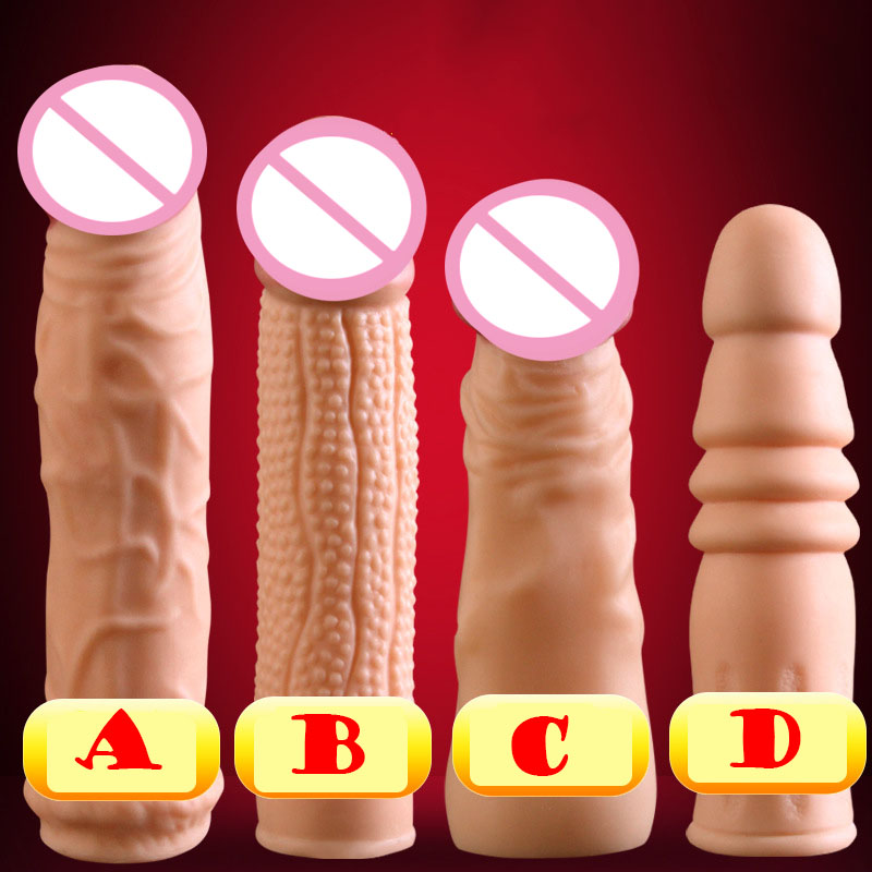4 size choose cock sleeve silicone penis sleeve reusable condom cock rings penis extender sleeve enlargment sex toys for men high quality reusable realistic penis sleeve extender silicone penis condom head penis cage adult sex toys for men