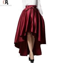 Темно Красная Черный Юбка С Завышенной Талией С Бантом Разной Длины Подол А-Линии Юбка Весна Осень Женская Элегантная Одежда