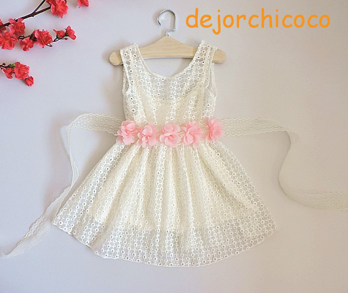Flower Belts For Wedding Dresses: Sleeveless Children's Lace Party Wedding Dress Flower Sash