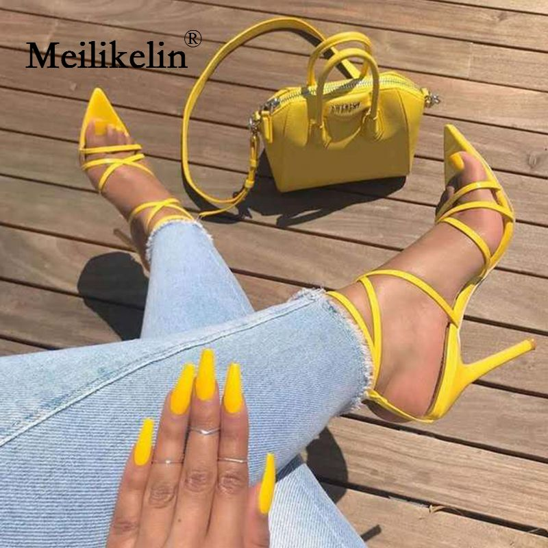 Super high heels 11.5cm women's pumps ankle cross-strap sandals shoes woman lady pointy open toe stiletto high-heeled party shoe