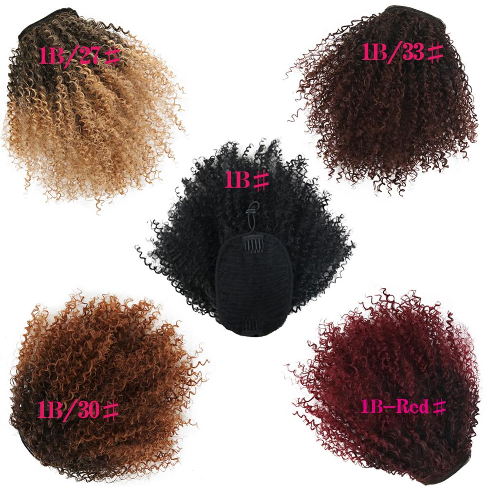 Deyngs Draw string Puff Afro Kinky Curly ponytail African American Short Wrap Synthetic clip in ponytail Hair Extensions 8inch 3
