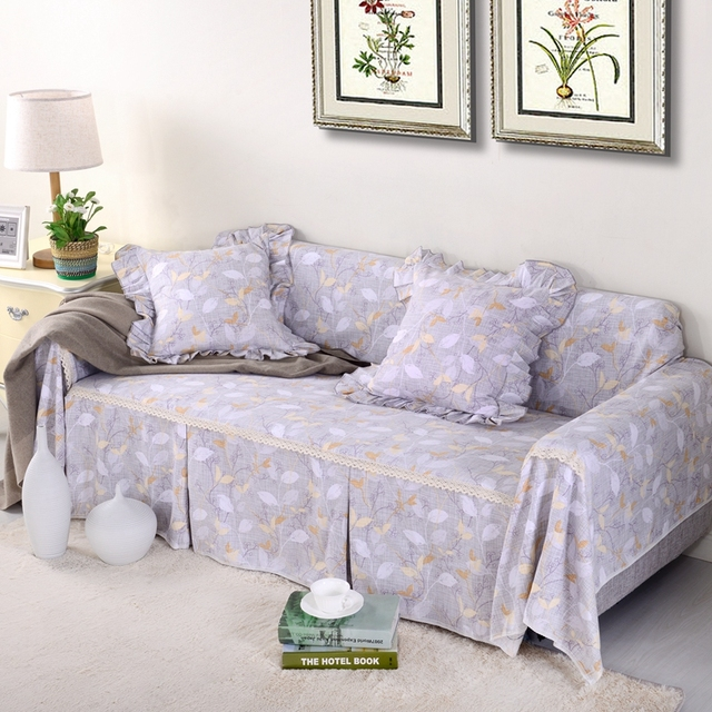 Sunnyrain Thick Cotton Canvas Past Grey Leaves Sofa Covers L Shaped Cover Slipcover Couch