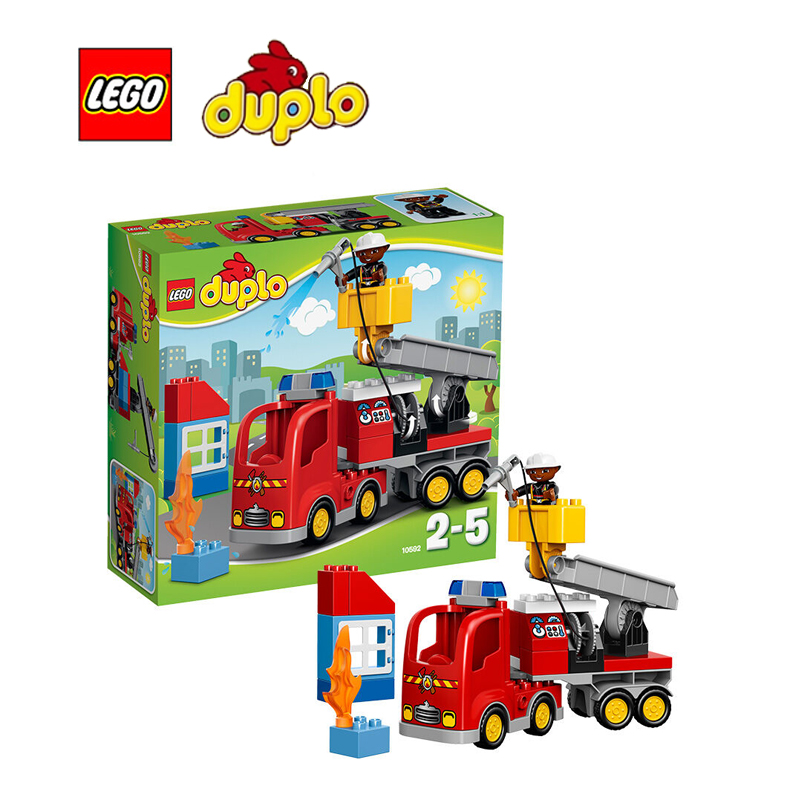 ФОТО LEGO Duplo Fire Truck Architecture Building Blocks Model Kit Plate Educational Toys For Children L10592