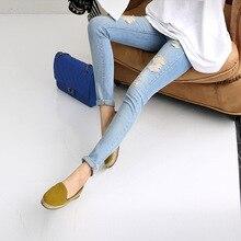 Оптовые джинсы женщин Корейский Тонкий джинсовые длинные брюки отверстия тощий карандаш джинсы мода весна новый 2016