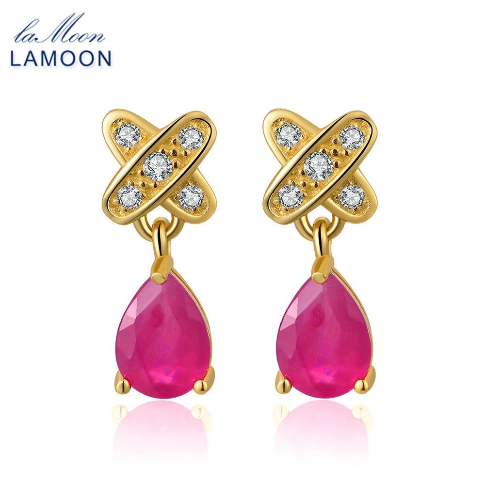 LAMOON Ruby Jewelry Brincos Stud Earrings for Women 925 sterling silver jewelry Pink Gemstone Water Drop Shape Bijoux EI050