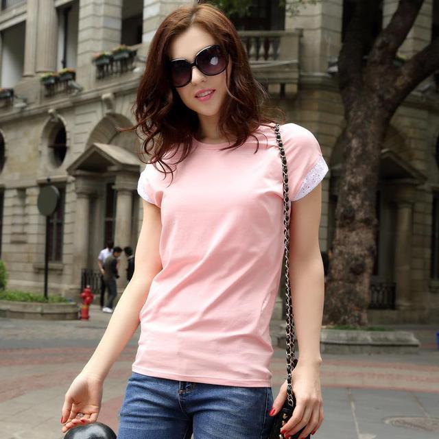 2017 Summer Tops Tees Cotton Ladies Short Sleeve Fashion Patchwork Zipper Loose T-shirt Pink and White Women's Clothes Hot Sale
