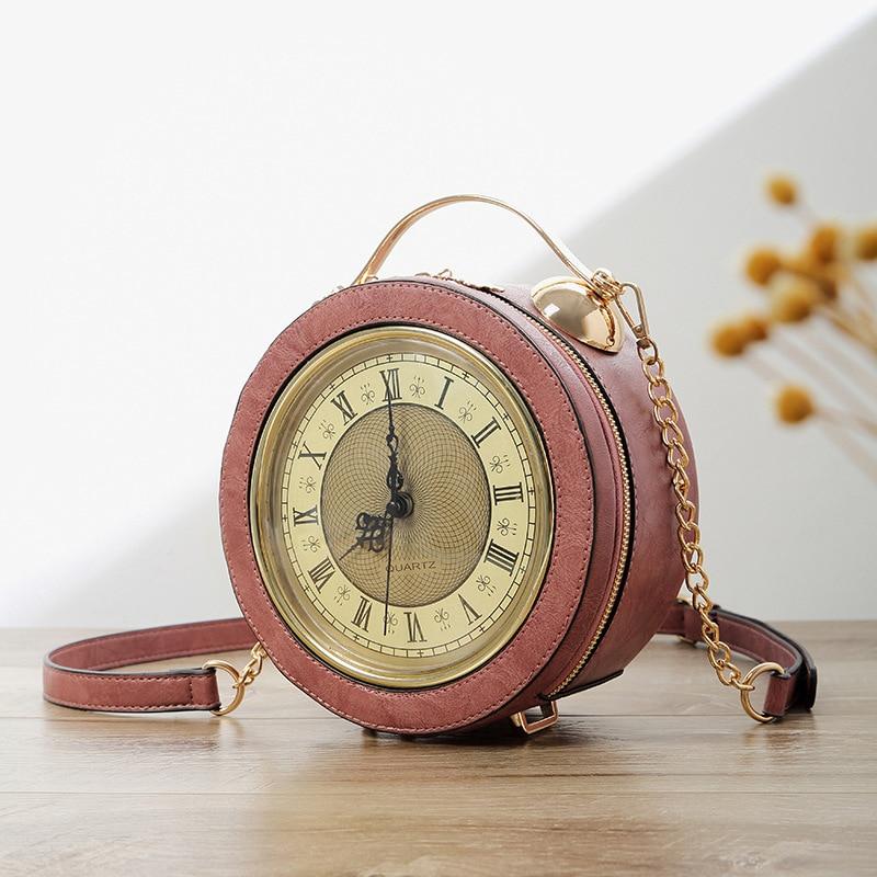 Personalized Funny Real Clock Shape Leather Bag Circular Ladies Handbag Chain Purse Shoulder Bags Crossbody Messenger Bag Bolsa