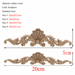 Rectangle Carving Natural Wood Appliques For Furniture Cabinet Unpainted Wooden Mouldings Decal Vintage Decoration Accessories