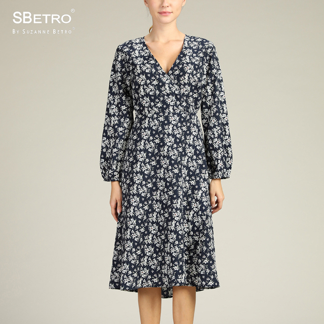 5704ba09d6b SBetro By Suzanne Betro Floral Print Midi Dress Female V-Neck Long Balloon  Sleeve Midi Wrap Casual Ladies Autumn Women s Dresses