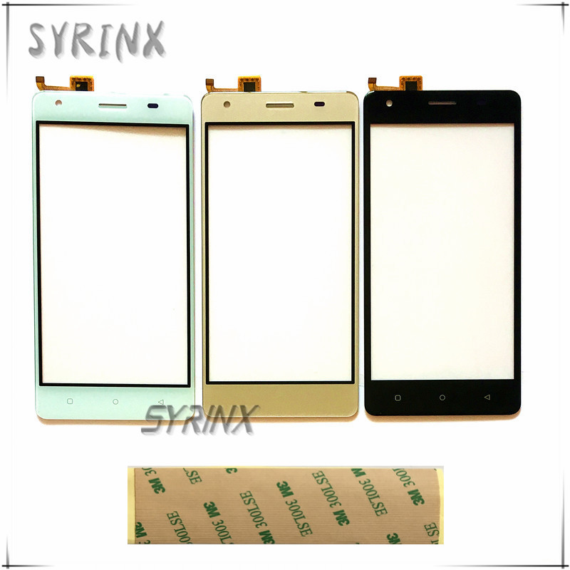 SYRINX With Tape Mobile phone front glass lens touchsceen For JUST5 Freedom M303 sensor touch screen capactive digitizer panel(China)