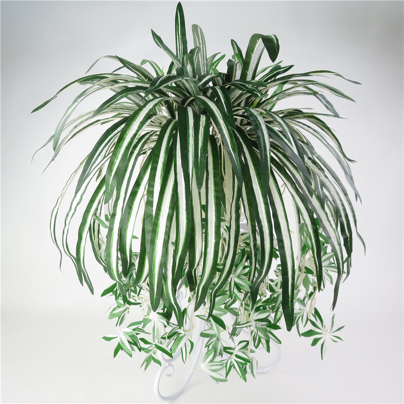 5 Heads Artificial Flower Bracketplant Chlorophytum Orchids Plastic Rattan Wall Flower Silk Flower Artificial Plant Home Decor
