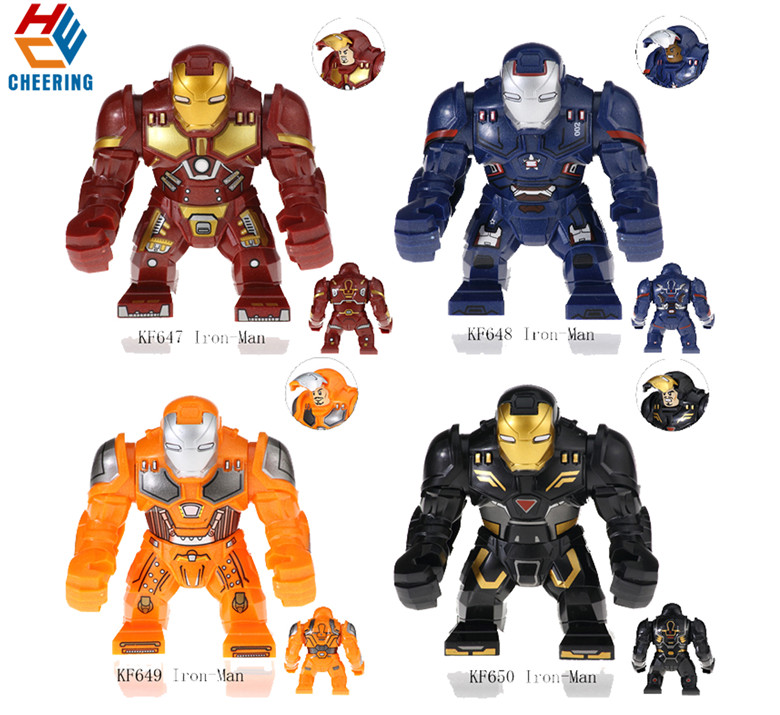 20Pcs Wholesales Building Blocks Big Size Super Heroes Avengers Iron Man Hulkbuster Bricks Dolls Figures Toys