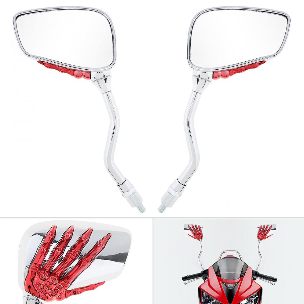 2x UNIVERSAL CHROME SKELETON SKULL HAND CLAW MOTORCYCLE REAR VIEW MIRRORS 8//10MM