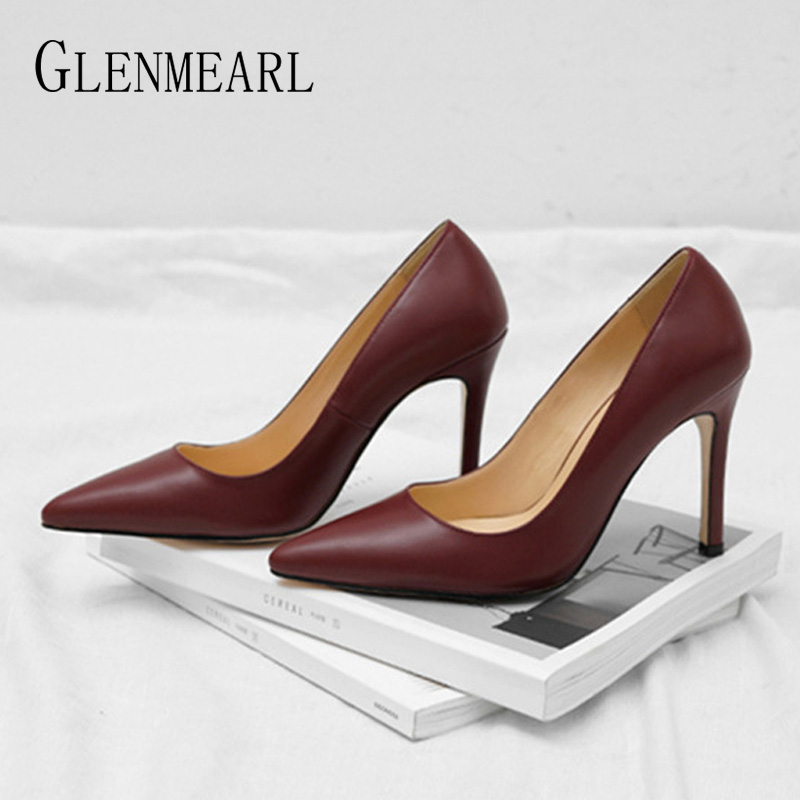 GLENMEARL High Heels Pointed Toe Woman Pumps Office Ladies
