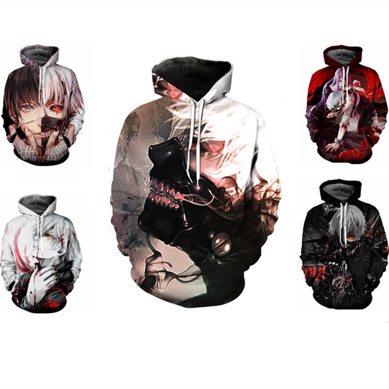 Tokyo Ghoul Cosplay Costume Kaneki Ken Cloak Hoodie Uchiha Itachi Anime Adult men Ms 3D Printed Zip Hooded Sweatshirt Jacket