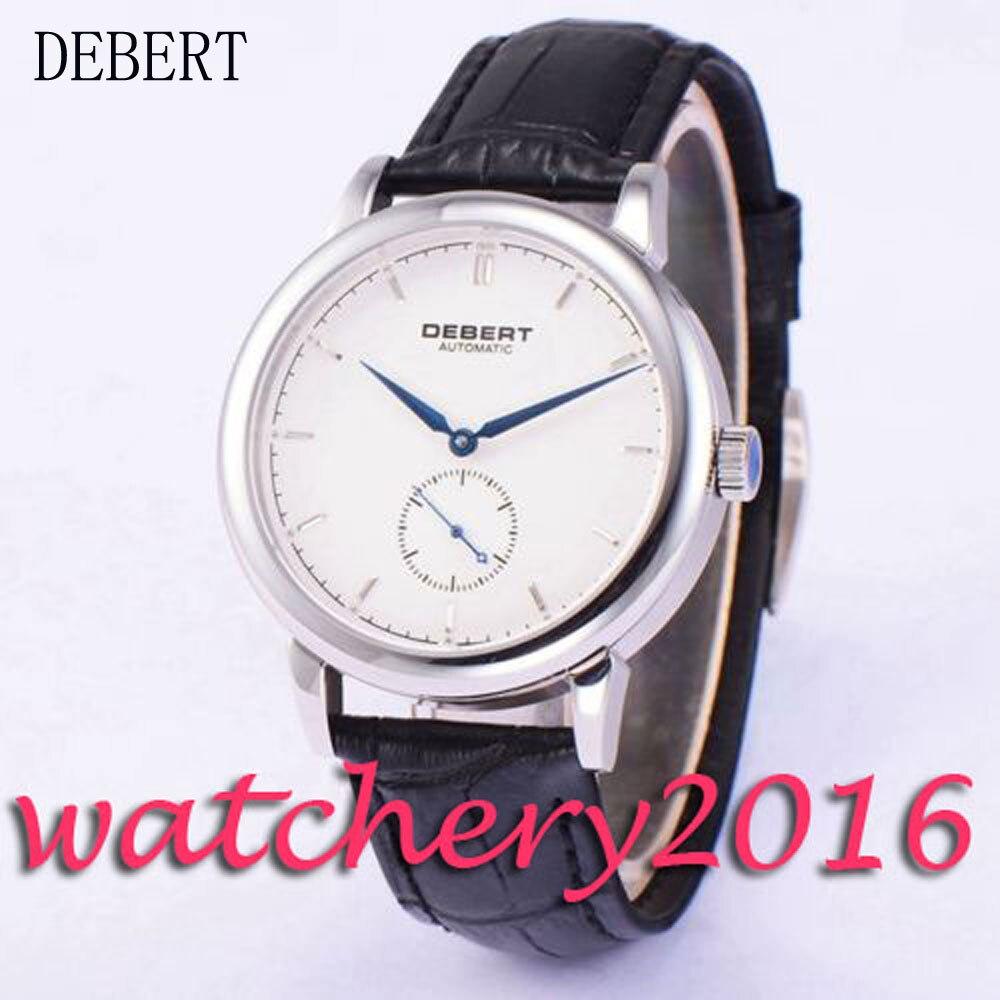 Casual 40mm Debert white dial black leather strap blue hands Automatic movement men's Watch коньки onlitop 223f 37 40 blue 806164