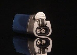 Image 5 - Encendedor Turbo de Triple antorcha resistente al viento para hombre, mechero de Metal con chorro, muela de 1300 C, encendedor de butano