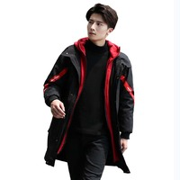 Korean Mens Winter Parkas Thick Warm Winter Parka Homme Long Hood Outerwear Male Fashion Casual Loose Overcoat Cold Jacket Man