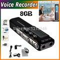 Nuevo Envío Libre 8 GB Grabadora de Voz Digital Dictáfono Teléfono de Grabación de Voz Para Reuniones Lecciones