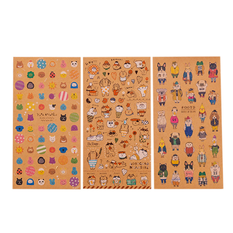 3pcs/lot Retro Animal Cat Kraft Paper Sticker Decoration Diary Scrapbooking Label Sticker Kawaii Japanese Stationaries Stickers