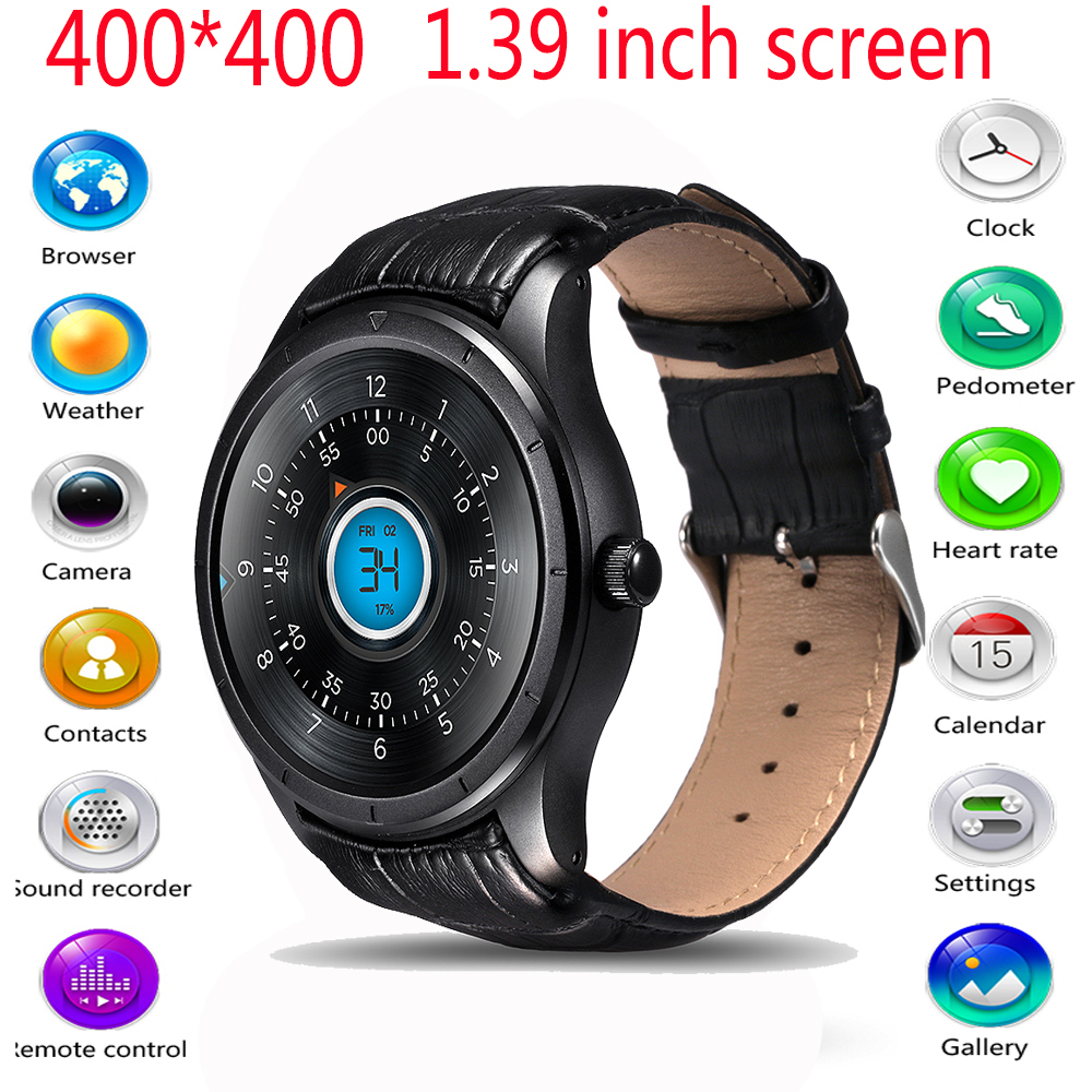 New  Q3 1.39 Inch Screen Android 4.4 MTK6572 Smart Watch Phone Sim Car