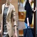 2016 moda verão mulheres blazers casacos casual xadrez cotoveleiras dois botões fit ternos das senhoras blazer básico feminino