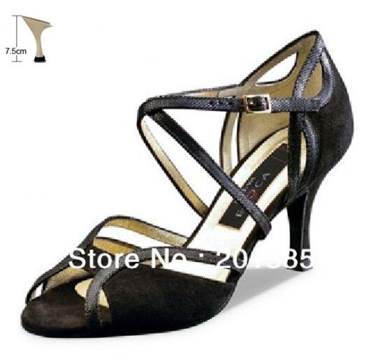 Пикантные женские черные бархатный латинский Обувь для бальных танцев обувь Сальса Танго Бачата туфли для мамбы Размер 34,35, 36,37, 38,39, 40,41 - Цвет: 7cm flare heel