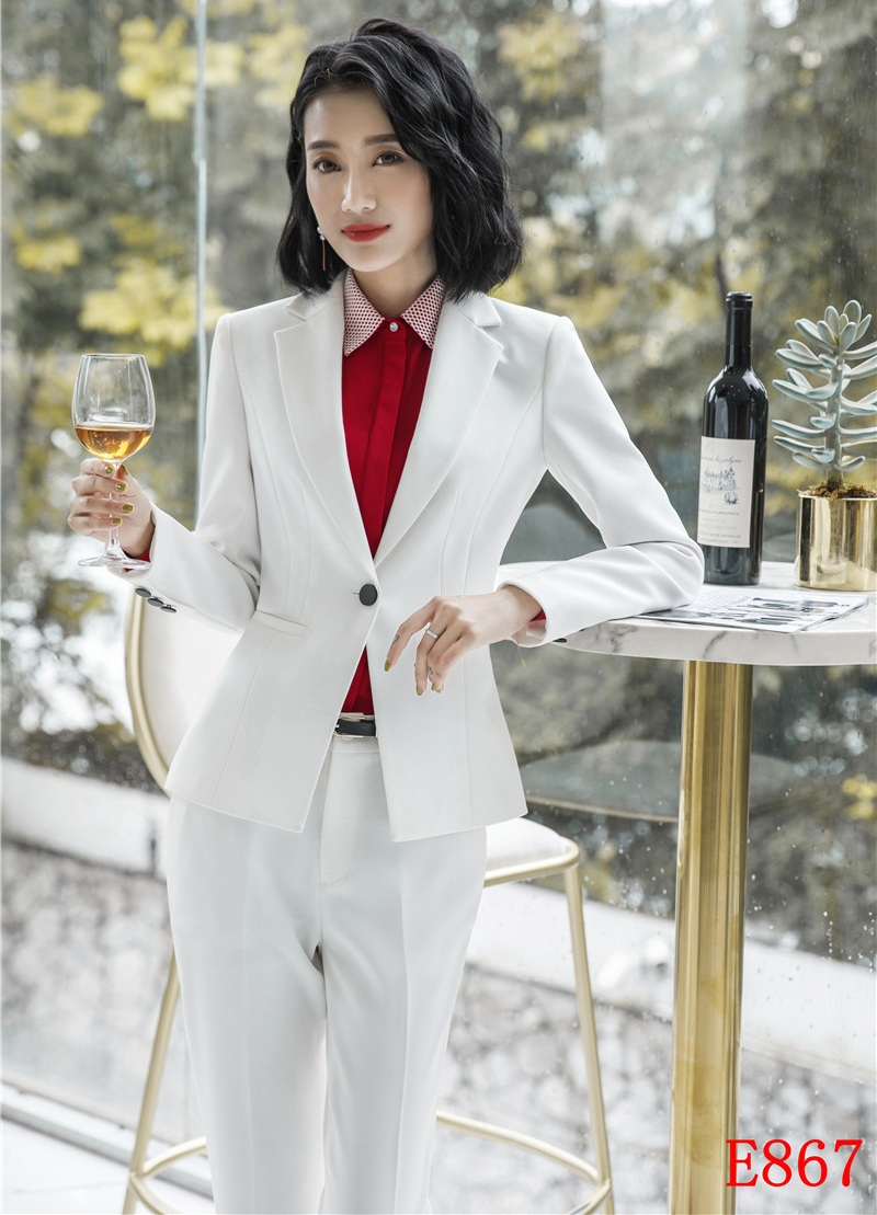 Estilos Formal Conjunto 2019 De Y Chaqueta Trajes Con Blanco Blazer Mujeres Nuevo Uniforme Ropa Negocios Señoras Oficina Trabajo Pantalón 5Upff7wcq