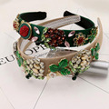 Nuevo vintage barroco metal cristal flores anchas cintas para el pelo de terciopelo cordón real joya rhinestone de la perla diadema mujeres accesorios para el cabello