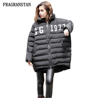 2017 Autumn Winter Lady Thick Keep Warm Hooded Paraks Female Fashion Letter Pattern Print Black Casual