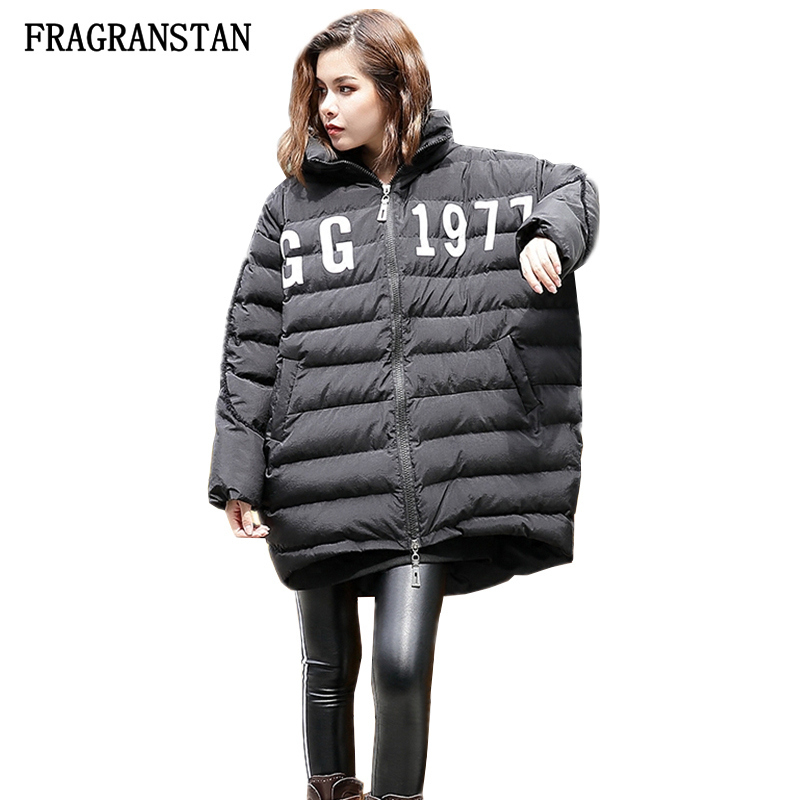 2017 Autumn Winter Lady Thick Keep Warm Hooded Paraks Female Fashion Letter Pattern Print Black Casual Loose Padded Jacket Q260 casual style head portrait pattern loose hooded fleeces
