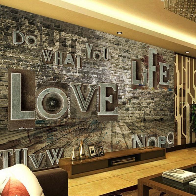 Custom Mural European Retro 3D Stereo Relief Brick Alphabet Wall Paper Personality Bar Restaurant Background Murals Wallpaper