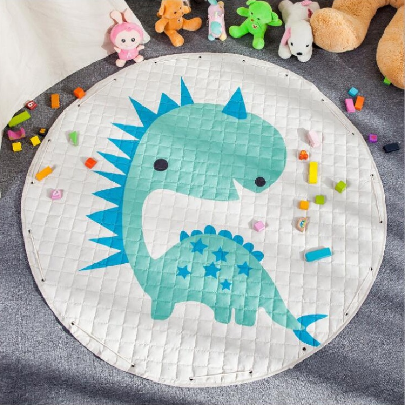 Lovely Animal Dinosaur Hedgehog Mushroom Skidproof Baby Play Mats Rug Carpet Toys Storage Bag Nordic Kids Room Decor Photo Props wood grain flannel skidproof vintage rug