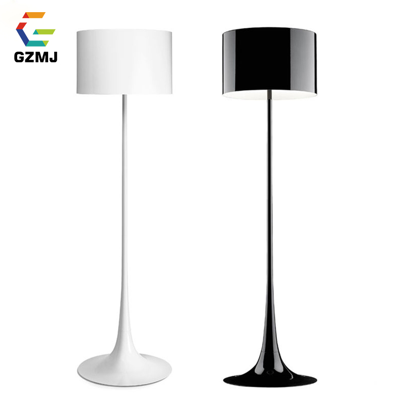 GZMJ Modern Brief Metal Floor Lamp Black/White LED Tripot Standing Lamp Bedroom Living Room Dining Room Standing Floor Lamps modern 9w 12w 15w led floor lamp remote dimmable stand lights living room piano reading standing lighting led floor lighting