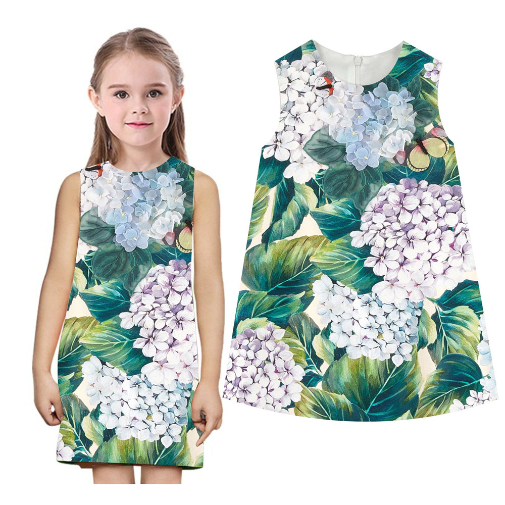 summer style green leaves dress girls clothes new 2018