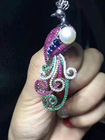 peacock white and multicolor frershwater pearl white color brooch weholesale beads gift FPPJ